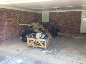garage construction debris